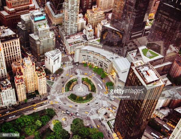 columbus circle aerial view in nyc