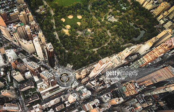 Columbus Circle square in Manhattan from the sky