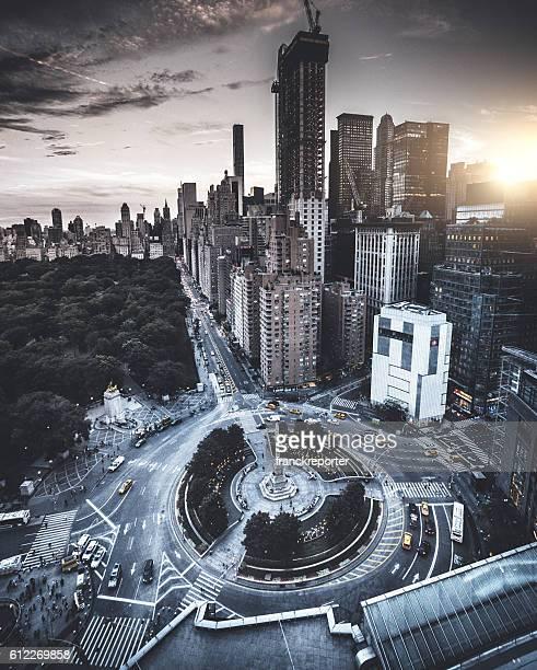 Columbus Circle square in Manhattan on the night
