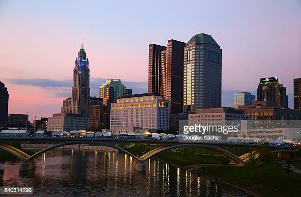 Columbus City skyline along Scioto River at twilight, Columbus, Ohio, USA