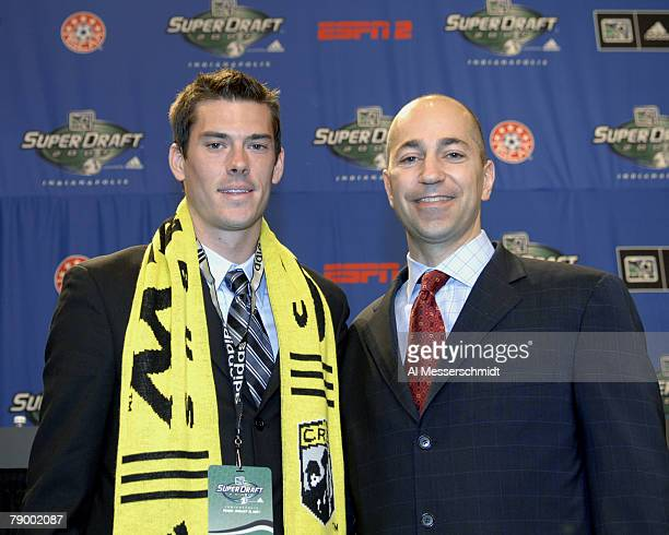 Columbus Crew Brad Evans and MLS deputy commissioner Ivan Gazidis at the 2007 SuperDraft at the Indianapolis Convention Center in Indianapolis...