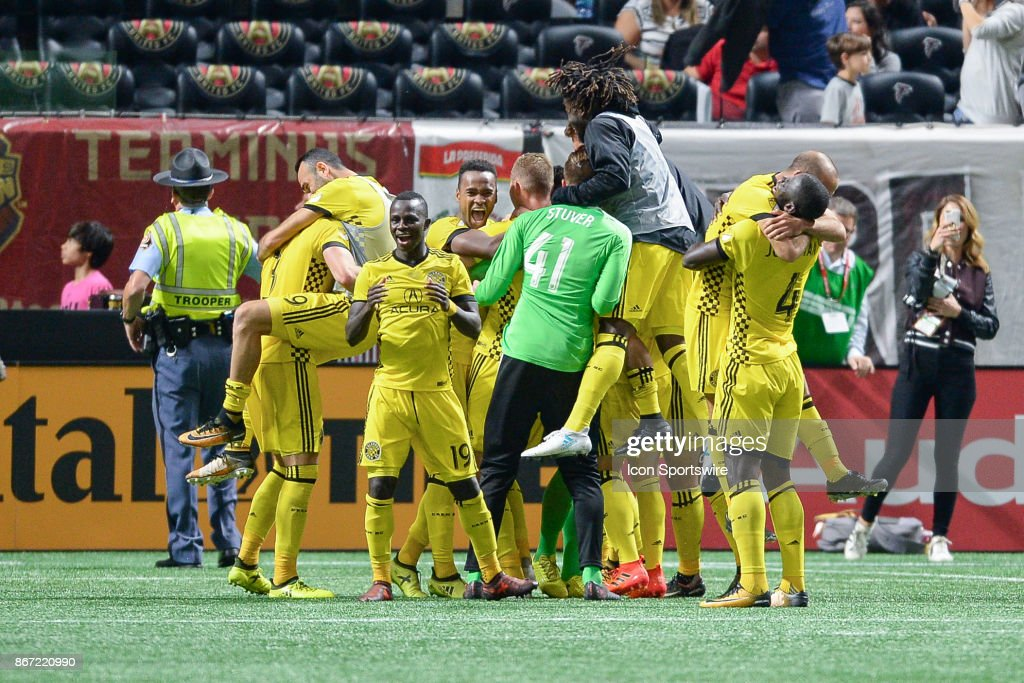 Columbus Crew celebrates following the conclusion of the playoff match between Atlanta United and Columbus Crew on October 26, 2017 at Mercedes-Benz Stadium in Atlanta, GA. Columbus Crew SC defeated Atlanta United FC 3 1 on penalty kicks following a scoreless draw between the two clubs.
