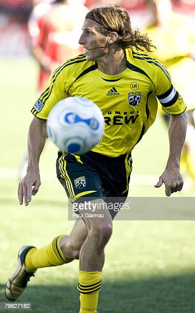 Columbus Crew defender Frankie Hejduk chases down the ball during the match at BMO Field in Toronto Canada on September 22 2007 Columbus defeated...
