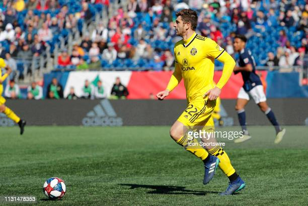 Columbus Crew defender Gaston Sauro looks up field during a match between the New England Revolution and Columbus Crew SC on March 9 at Gillette...