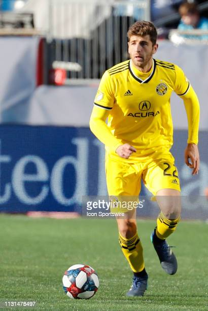 Columbus Crew defender Gaston Sauro pushes forward during a match between the New England Revolution and Columbus Crew SC on March 9 at Gillette...