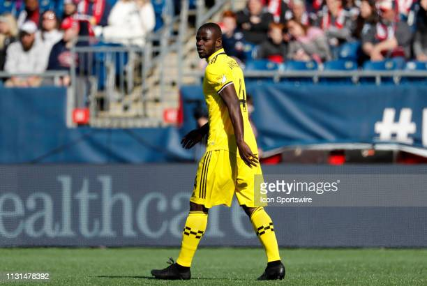 Columbus Crew defender Jonathan Mensah holds down the back line during a match between the New England Revolution and Columbus Crew SC on March 9 at...