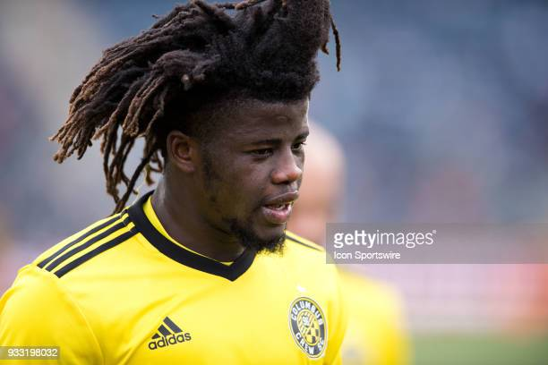 Columbus Crew Defender Lalas Abubakar walks toward the locker room after the first half during the game between the Columbus Crew and Philadelphia...