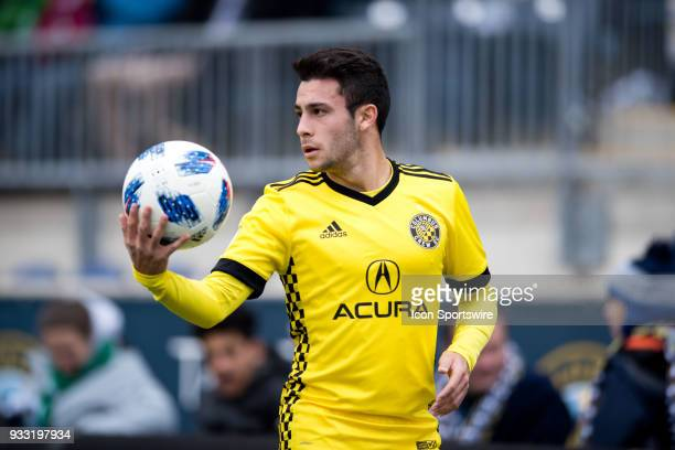 Columbus Crew Defender Milton Valenzuela readies for a throwin in the first half during the game between the Columbus Crew and Philadelphia Union on...