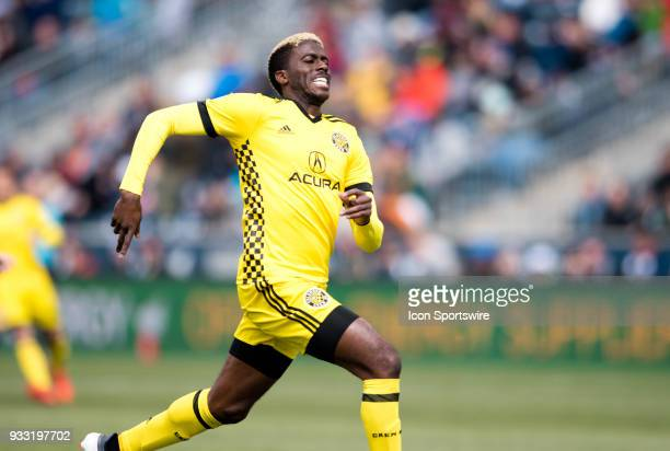 Columbus Crew Forward Gyasi Zardes chases down a long pass in the first half during the game between the Columbus Crew and Philadelphia Union on...