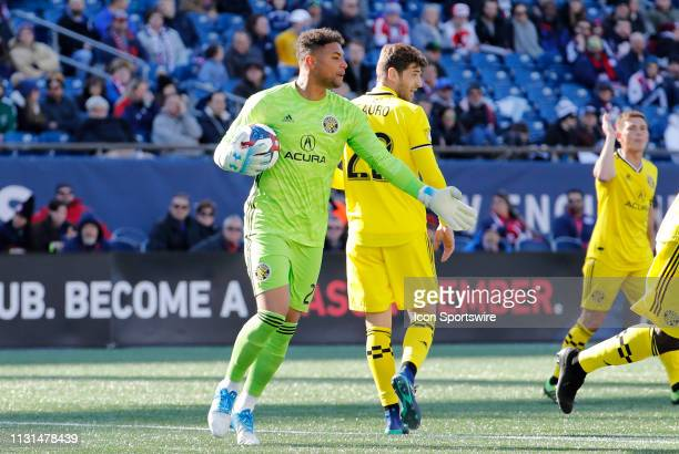 Columbus Crew goalkeeper Zack Steffen directs his players during a match between the New England Revolution and Columbus Crew SC on March 9 at...