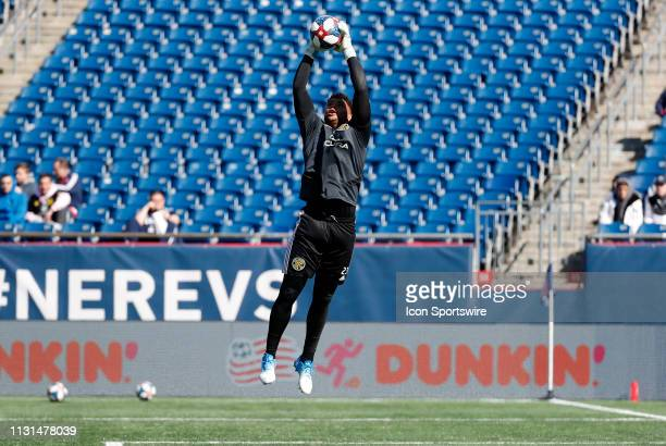 Columbus Crew goalkeeper Zack Steffen snares a cross before a match between the New England Revolution and Columbus Crew SC on March 9 at Gillette...