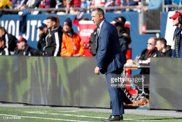 Columbus Crew head coach Caleb Porter in the coaches box during a match between the New England Revolution and Columbus Crew SC on March 9 at...