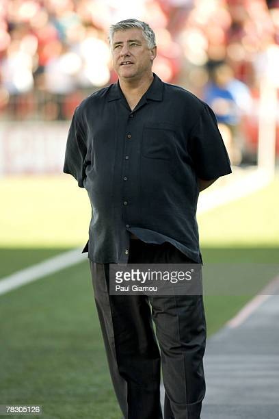 Columbus Crew head coach Sigi Schmid watches his team play against the Toronto FC at BMO Field in Toronto Canada on September 22 2007 Columbus...