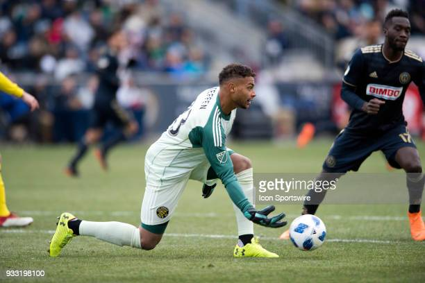 Columbus Crew Keeper Zack Steffen passes the ball in the second half during the game between the Columbus Crew and Philadelphia Union on March 17...