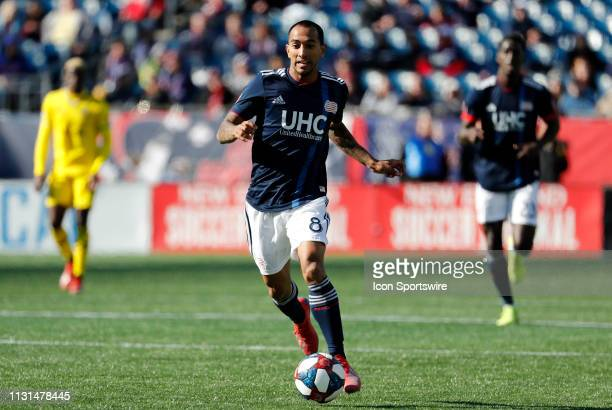 Columbus Crew midfielder Artur pushes forward during a match between the New England Revolution and Columbus Crew SC on March 9 at Gillette Stadium...