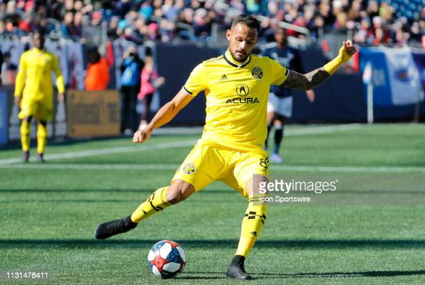 Columbus Crew midfielder Artur switches fields during a match between the New England Revolution and Columbus Crew SC on March 9 at Gillette Stadium...