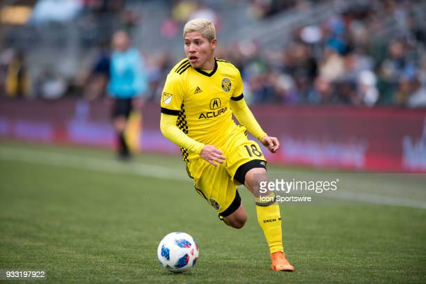 Columbus Crew Midfielder Cristian Martinez carries the ball in the first half during the game between the Columbus Crew and Philadelphia Union on...