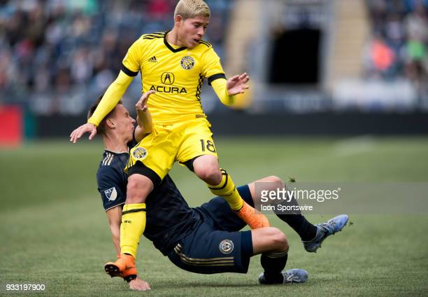 Columbus Crew Midfielder Cristian Martinez collides with Union Defender Jack Elliot in the first half during the game between the Columbus Crew and...
