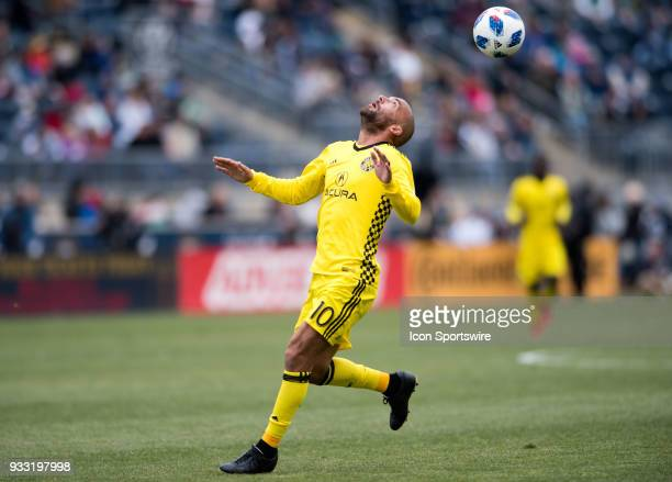 Columbus Crew Midfielder Federico Higuain collects a header in the first half during the game between the Columbus Crew and Philadelphia Union on...