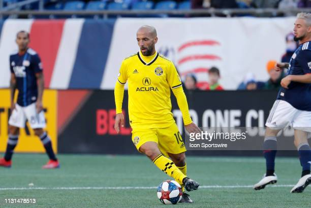 Columbus Crew midfielder Federico Higuain cuts with the ball during a match between the New England Revolution and Columbus Crew SC on March 9 at...