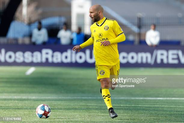 Columbus Crew midfielder Federico Higuain looks for a target during a match between the New England Revolution and Columbus Crew SC on March 9 at...