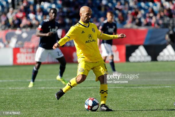 Columbus Crew midfielder Federico Higuain plays the ball wide during a match between the New England Revolution and Columbus Crew SC on March 9 at...