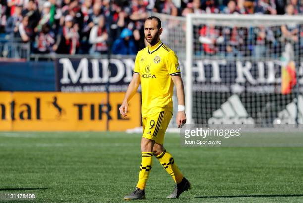 Columbus Crew midfielder Justin Meram during a match between the New England Revolution and Columbus Crew SC on March 9 at Gillette Stadium in...