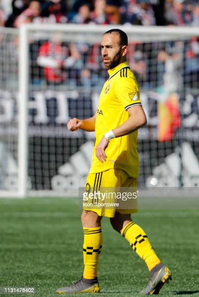 Columbus Crew midfielder Justin Meram in midfield during a match between the New England Revolution and Columbus Crew SC on March 9 at Gillette...