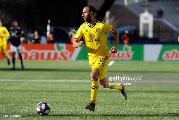 Columbus Crew midfielder Justin Meram looks into the box during a match between the New England Revolution and Columbus Crew SC on March 9 at...