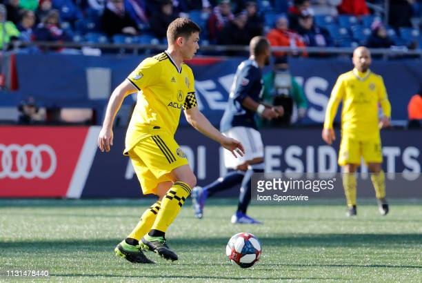 Columbus Crew midfielder Wil Trapp looks up field during a match between the New England Revolution and Columbus Crew SC on March 9 at Gillette...