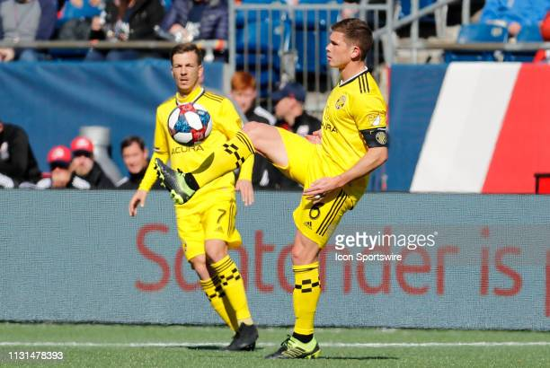Columbus Crew midfielder Wil Trapp plays the ball during a match between the New England Revolution and Columbus Crew SC on March 9 at Gillette...