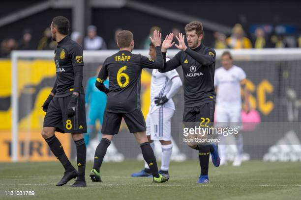 Columbus Crew SC defender Gaston Sauro celebrates with Columbus Crew SC midfielder Will Trapp after scoring a goal in the MLS regular season game...