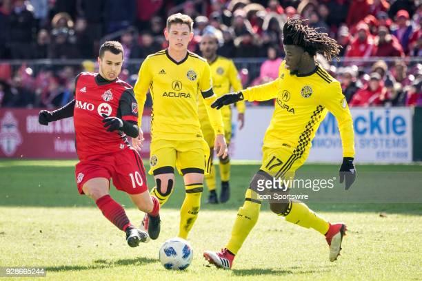Columbus Crew SC Defender Lalas Abubakar fights for the ball with Toronto FC Forward Sebastian Giovinco during the MLS regular season Toronto FC...