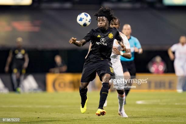 Columbus Crew SC defender Lalas Abubakar stays focused in the MLS regular season game between the Columbus Crew SC and the Atlanta United FC on June...
