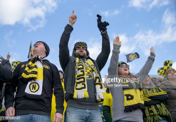 Columbus Crew SC fans celebrate after the Crew won the MLS regular season game between the Columbus Crew SC and the FC Dallas on March 16 2019 at...