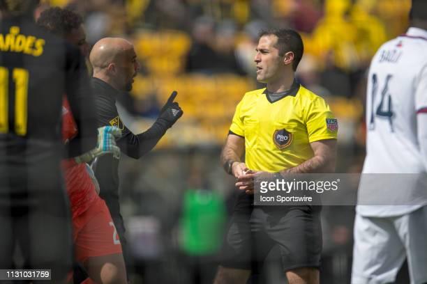 Columbus Crew SC forward Federico Higuain argues a call with referee Alex Chilowicz in the MLS regular season game between the Columbus Crew SC and...