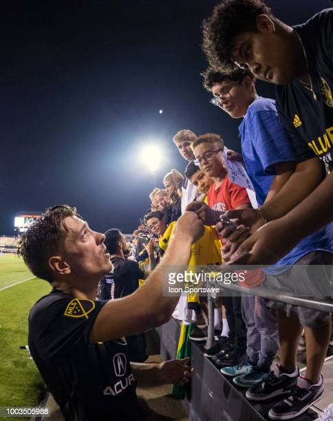 Columbus Crew SC forward Pedro Santos signs autographs after the MLS regular season game between the Columbus Crew SC and the Orlando City SC on July...