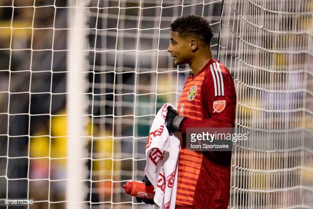 Columbus Crew SC goalkeeper Zack Steffen looks on after being scored on for the second time in the MLS regular season game between the Columbus Crew...