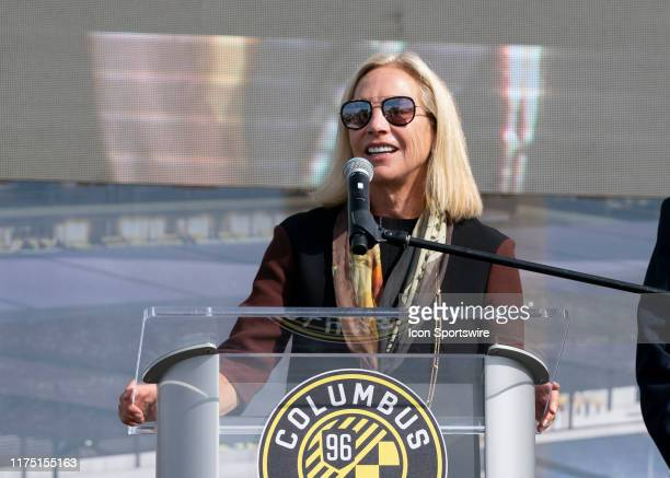 Columbus Crew SC Investor Operator Dee Haslam address fans and members of the media during the groundbreaking ceremony of the new Columbus Crew SC...