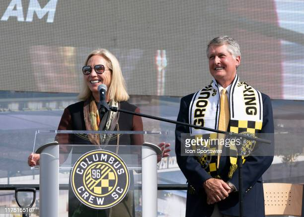 Columbus Crew SC Investor Operator Dee Haslam and Dr Pete Edwards address fans and members of the media during the groundbreaking ceremony of the new...