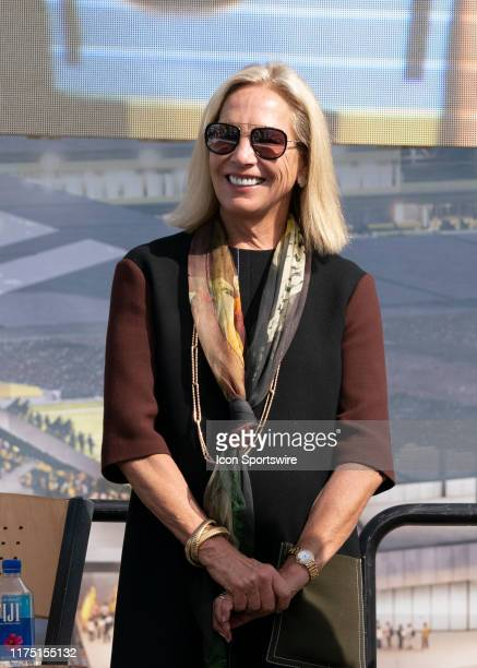 Columbus Crew SC Investor Operator Dee Haslam looks on during the groundbreaking ceremony of the new Columbus Crew SC Stadium in Downtown Columbus OH...