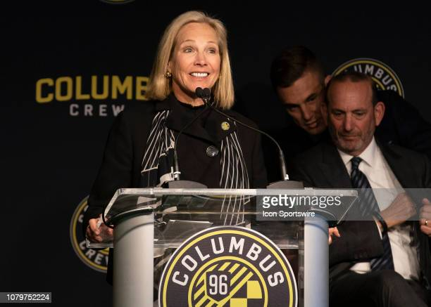 Columbus Crew SC InvestorOperator Dee Haslam during the Introductory Press Conference held at the The Ivory Room in Columbus Ohio on January 9 2019
