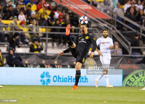 Columbus Crew SC midfielder David Guzan kicks the ball during the game between the Columbus Crew SC and the Los Angeles FC at MAPFRE Stadium in...