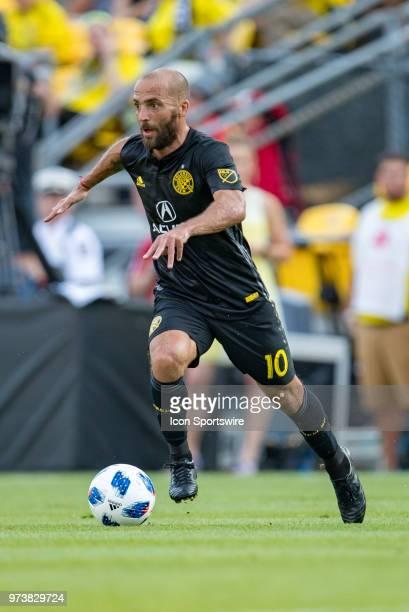 Columbus Crew SC midfielder Federico Higuain pushes the ball past midfield in the MLS regular season game between the Columbus Crew SC and the...