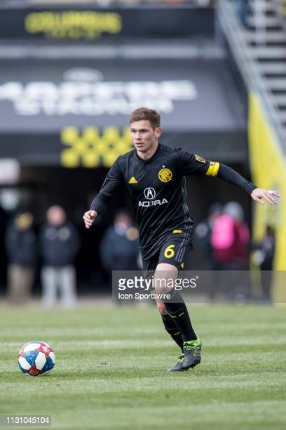 Columbus Crew SC midfielder Will Trapp pushes the ball up the pitch in the MLS regular season game between the Columbus Crew SC and the FC Dallas on...
