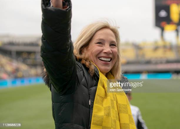 Columbus Crew SC Owner Dee Haslam waving to the fans before the match between the New York Red Bulls at Columbus Crew SC at MAPFRE Stadium in...
