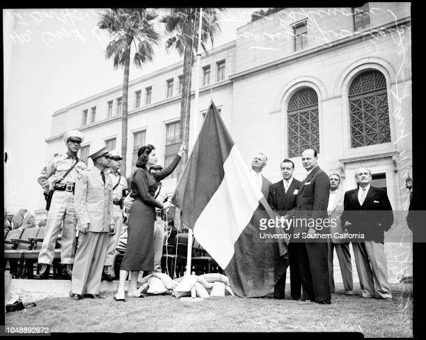Columbus Day at City Hall and St Vibiana's Cathedral 12 October 1955 Captain Guido Chini of Ft MacArthurGia Scala actressLieutenant Governor Harold J...