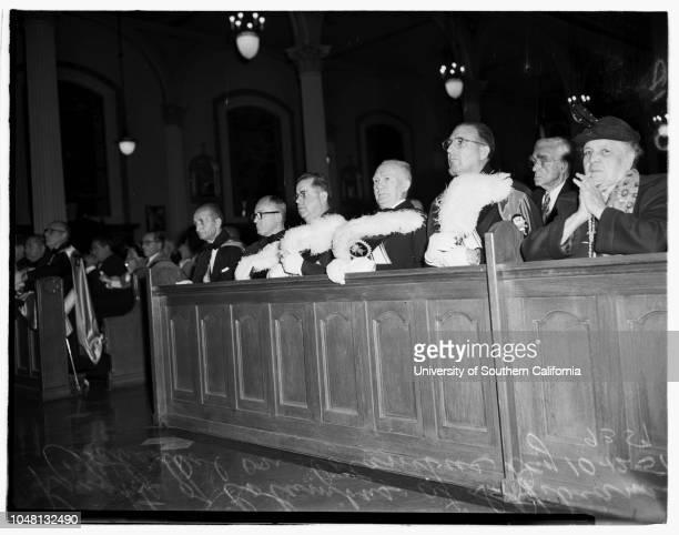Columbus Day at Saint Vibiana's Cathedral, 11 October 1951. Archbishop J Francis McIntyre, leads solemn High Mass at Cathedral;Knights of Columbus at...