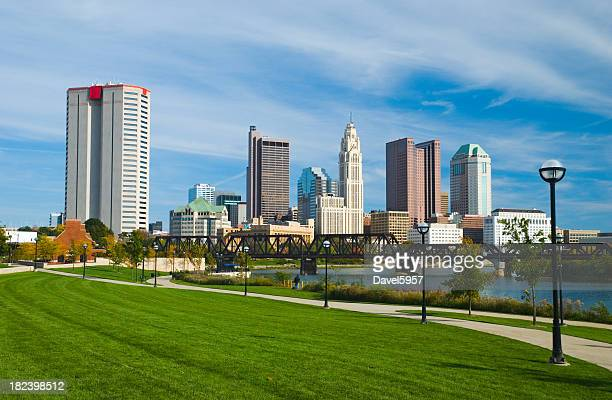 Columbus downtown, river, bridge, and park