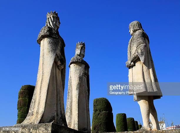 Columbus King Ferdando and Queen Isabel statues in garden of Alcazar Cordoba Spain Alc‡zar de los Reyes Cristianos